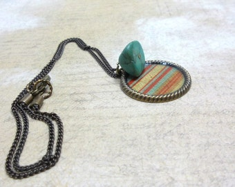 Brass Chain and Pendant Necklace, Turquoise Stone, Everyday Jewelry