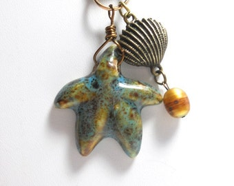 Necklace with Starfish Pendant, Porcelain Starfish Pendant, Blue Leather Cord