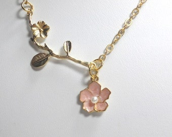 Pink Flower Necklace, Gold Necklace, Twig and Flower Necklace, Everyday Jewelry