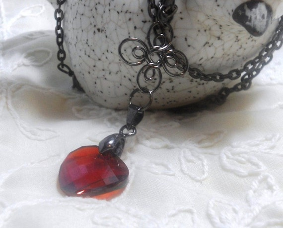 Swarovski Red Magna Twist Pendant, Gunmetal Bail,  Necklace