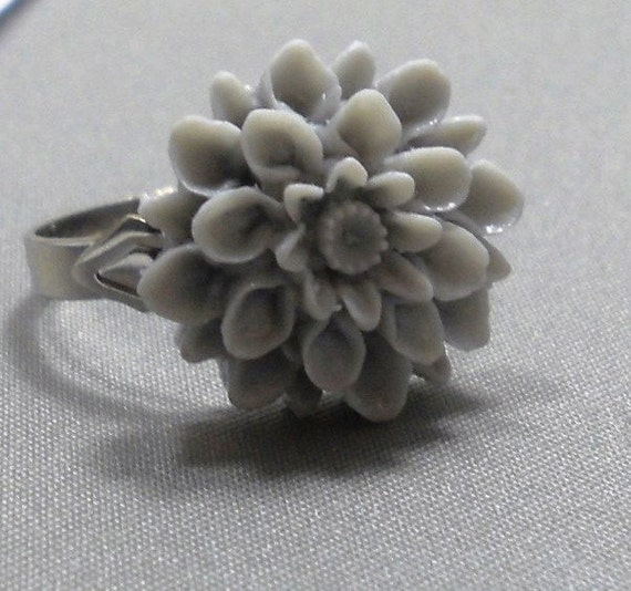 Gray Dahlia Flower Adjustable Silver Band  Ring