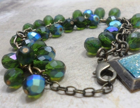 Czech Glass Blue Green Beadwork Dangle Charm Bracelet with Brass Charms, Womens Jewelry