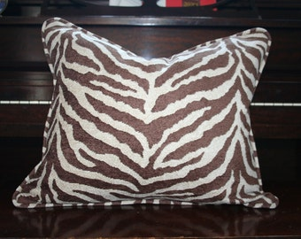 """DECORATIVE PILLOW COVER in Skylar by Kravet-16""""x20""""-Woven Zebra Pattern-Double Sided with Invisible Zipper"""