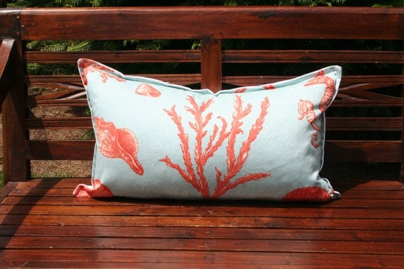 SUMMER SALE-Decorative Pillow Cover-14x24- Seashell Pattern-Coral and turquoise