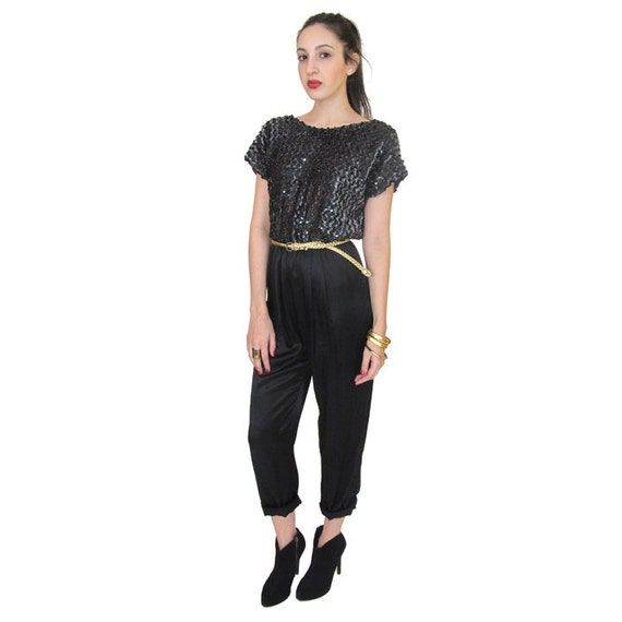 Vintage Black Sequin Romper with Shiny Black Pants, Small / Medium