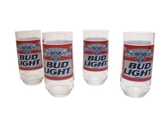 Vintage Bud Light Drinking Glasses, Set of Four