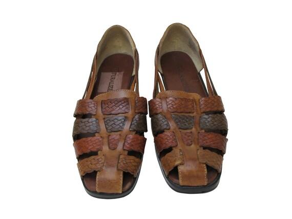 Vintage Brown Huarache Sandals, Size 8.5