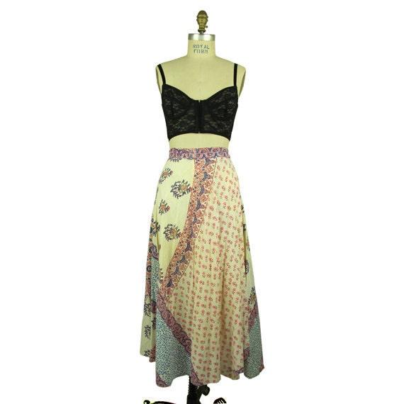 Vintage Cream White Wrap Indian Skirt, Small