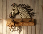 Derby Pony Coat Hooks, rustic twigs and bark folk art for the horse lover