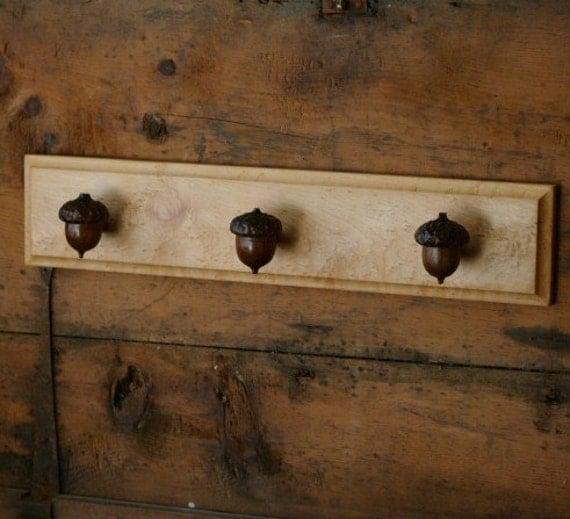Acorn Towel Rack - Rustic Home Decor - Farmhouse Kitchen Decor - Cabin Decor