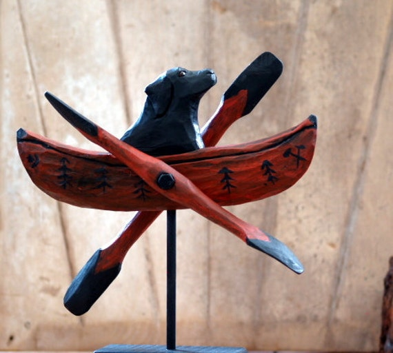 Black Lab & Canoe Whirligig, rustic cabin, lodge decor