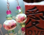 EARRINGS - Blossoming Orchids - Sterling Silver, Genuine Dyed Jade, Ceramic with Hand-Painted Orchids