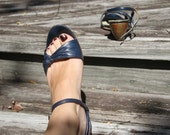 80s Knotted navy leather  wedge sandals, shipped in original box. Size 6.