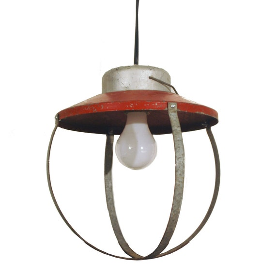 industrial pendant light fixture cage galvanized plug in. Black Bedroom Furniture Sets. Home Design Ideas