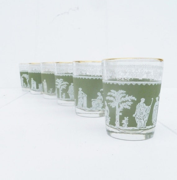Six Shot Glasses, Romanesque, Jeanette, helena, Green.