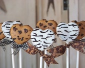 Mom's Killer Cakes & Cookies Leopard and Zebra Print Heart Hearts Shaped Cake Pops Perfect for Valentine's Day Round Balls Also Available