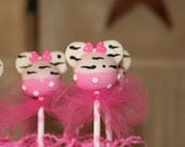 Mom's Killer Cakes & Cookies ORIGINAL DESIGN Mouse Girl Inspired Hot Pink and Zebra Print Cake Pops