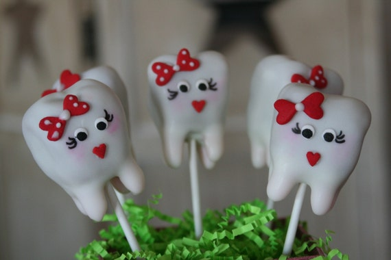 Receive By Christmas!!!! Mom's Killer Cake Pops OWN ORIGINAL DESIGN Tooth Cake Pops February Is National Dental Health Month