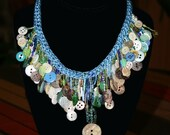 Vintage & New Button and Glass Bead Necklace - Blue, Silver and Turquoise