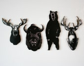 Wild Animal Pack of Woodcut Sculpture Miniature Magnets