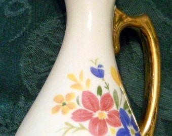Pitcher Vase with Gold Trim
