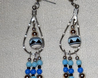 Bright Blue Bead and Silver Earrings