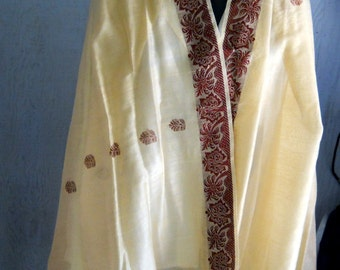 Stunning Sari Fabric with a Burgundy Design on a Cream Colored Shimmery, Sheer Fabric