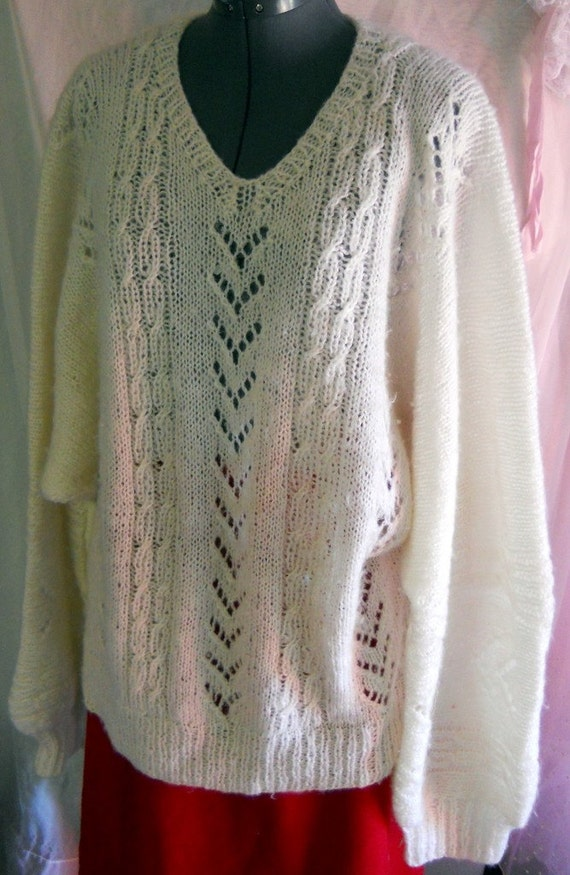 Soft and Cozy Hand Knit White Soft Wool Sweater