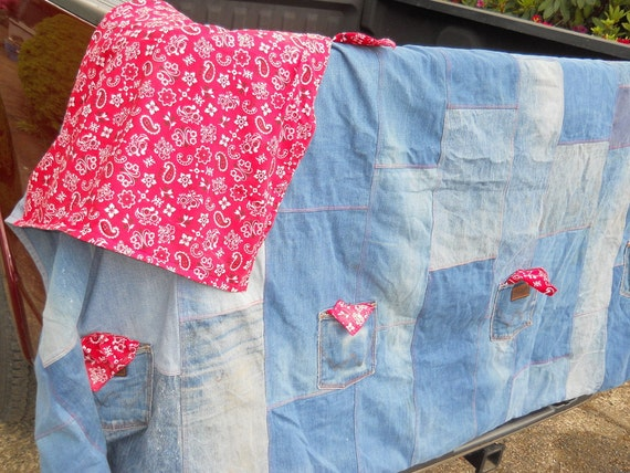 Picnic Table Cloth from Blue Jeans and Bandana Fabric