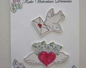 Valentine's Day Two magnets Dove with love letter winged Heart