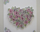 Magnet, Cabbage Roses, Heart shaped Wreath, Original Illustration, Watercolor