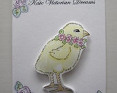 Spring Easter Magnet, Sweet Fluffy Chick Wearing a Wreath of Pink Roses