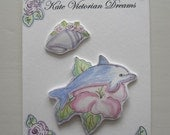 Two Magnets with a Dolphin on a Hibiscus Flower and a shell with pink roses, Art, Original Art, Flower magnet