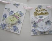 Easter Greetings Garland Decoration Vintage Dresden Glass Glitter