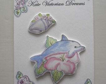 Two Magnets, Dolphin, Hibiscus Flower, Seashell, roses, Art, Original Art, illustration, watercolors, Ocean, Sea, Nautical, Beach