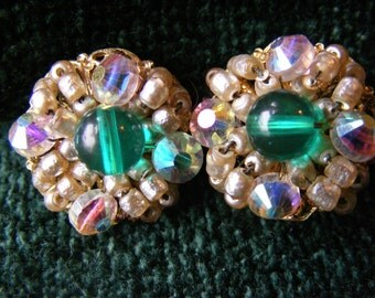HOBE green and aurora borealis beaded clip earrings