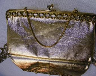 Glamorous Gold Lamé Clutch Purse with Circle Detail