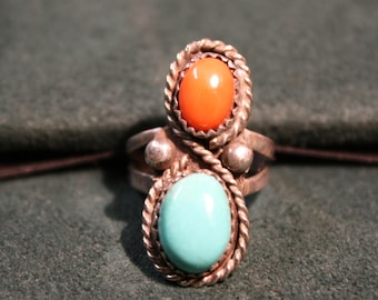 Coral and Turquoise Double stone ring size 5 Pinky Ring