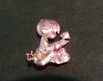 925 Silver Precious Moments Boy with Puppy Pin, 925 Mexico, Signed PMI