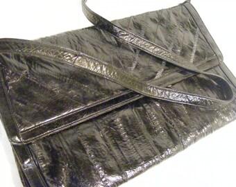 Genuine Eel Skin Purse, Black, Made in Hong Kong