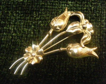 Floral Bouquet Sterling Silver Pin, Tulips, Iris, Daisy