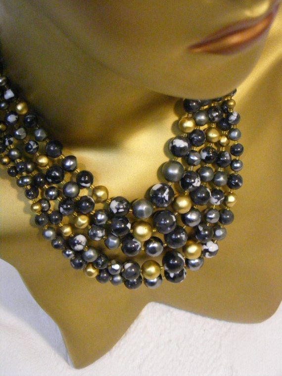 Black and Gold 5 strand Bib Style Necklace Made in Japan