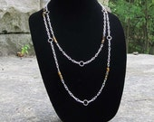 Tigereye and Silver Chain Lariat Necklace