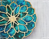 Mid Century Brass Ceramic Lotus Tray Plate Pepe Mendoza Turquoise Designer