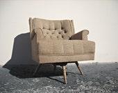 reserved Mid Century Swivel Rocker Rocking Chair Tweed Mad Men