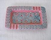 Mid Century Ash Tray Ceramic Pink Turquoise 1960s