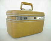 Reserved Vintage Samsonite Make Up Train Case Yellow Ochre 1970s