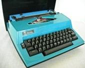 Mid Century Royal Typewriter Electric Teal Blue Jubilee West Germany