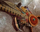 Birds of Many Feathers : Headpiece or Hat Band w Grouse, Pheasant, Turkey, & Rooster Feathers, Buffalo, and Deer Leathers, Turquoise Stone