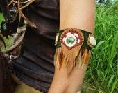 RESERVED Woodland Wanderer : Arm Cuff w Bear Fetish, Bone Feathers, Cowhide, Elk Skin, Buckskin, India Glass, Pheasant & Rooster Feathers